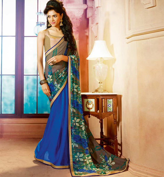 STYLISH BAZAAR CHIFFON & GEORGETTE PARTY WEAR SAREE WITH BLOUSE