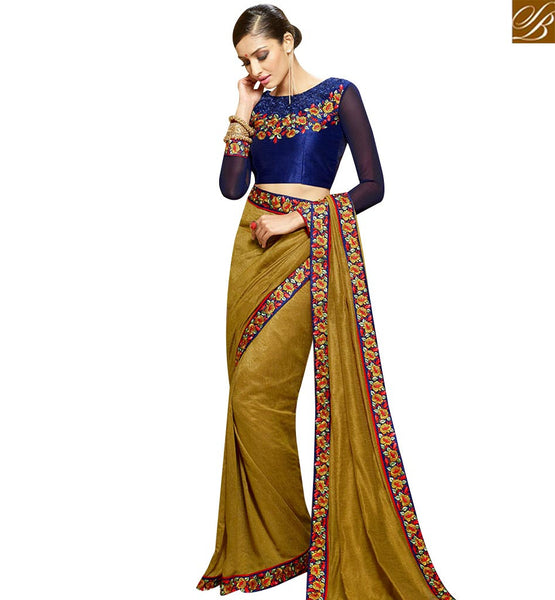 STYLISH BAZAAR DELIGHTFUL BEIGE DESIGNER SAREE HAVING LACE BORDER WORK WITH EMBROIDERED BLOUSE SLHAW202