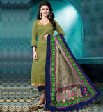 2015 SALWAR KAMEEZ DESIGNS FOR OFFICE WEAR SUPERB COLOR COMBINATION GREEN AND NAVY BLUE DRESS WITH EXCITING PRINTED ODHNI
