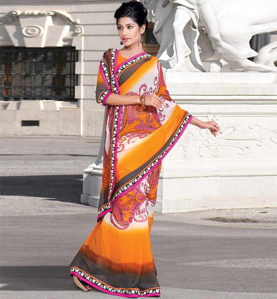 ORANGE & OFF-WHITE CASUAL WEAR SAREE RTKOR203B