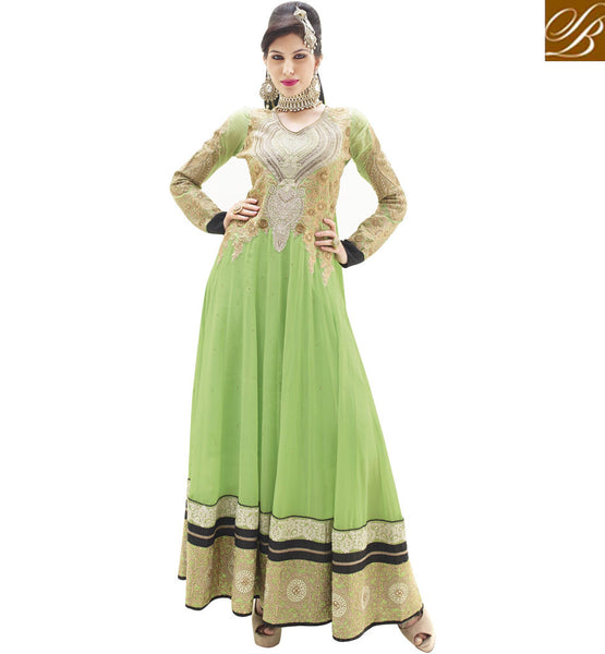 EYE-CATCHING GREEN WEDDING WEAR ANARKALI DRESS RTALK203