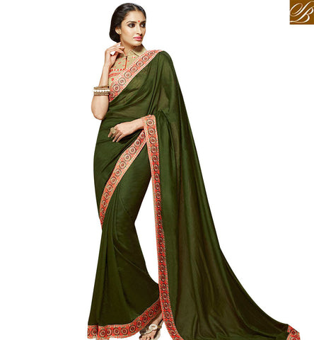 STYLISH BAZAAR ELEGANT GREEN VISCOSS DESIGNER SAREE ATTIRE WITH LACE BORDER WORK AND JACKET STYLE BLOUSE SLHAW203