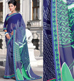 BLUE PRINTED CASUAL WEAR SAREE RTKOR204A