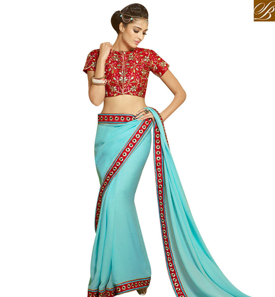 STYLISH BAZAAR WONDERFUL SKY BLUE DESIGNER SAREE ATTIRE WITH RED LACE BORDER & HEAVY RED EMBROIDERED BLOUSE SLHAW204