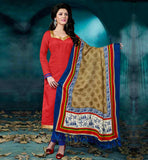 OFFICE WEAR SALWAR KAMEEZ ONLINE SHOPPING RAVISHING RED STRAIGHT CUT SUIT WITH BLUE BOTTOM AND PRINTED BHAGALPURI DUPATTA