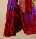 Mustard, Red And Purple Bhagalpuri Silk South Indian Type Casual Saree With Red Bhagalpuri Designer Blouse South Indian Saree Blouse Designs Casual Designer Wear Model
