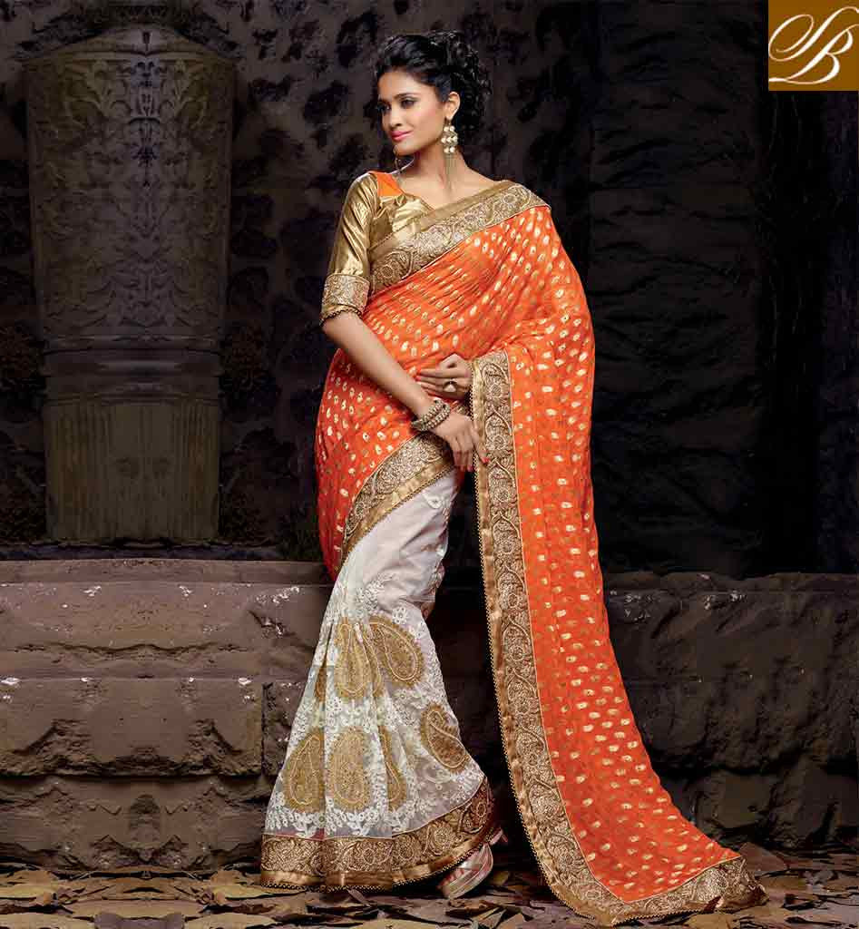 Wedding White Sarees Online: INDIAN WEDDING SAREES ONLINE SHOPPING LOWEST RTVRT2051A