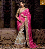 INDIAN WEDDING SARI PAIRED WITH STYLISH BLOUSE DESIGN LOVELY PINK AND OFF WHITE NET VISCOSE ZARI SARI WITH CHIKOO AMAZING ART SILK BLOUSE OUTSTANDING EMBROIDERY WORK IN FESTIVAL SARI AND GOOK LOOKING PARI WORK WITH STONE WORK