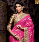 LOVELY PINK AND OFF WHITE NET VISCOSE ZARI SARI WITH CHIKOO AMAZING ART SILK BLOUSE OUTSTANDING EMBROIDERY WORK IN FESTIVAL SARI AND GOOK LOOKING PARI WORK WITH STONE WORK AND LACE BORDER