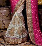 OUTSTANDING EMBROIDERY WORK IN FESTIVAL SARI AND GOOK LOOKING PARI WORK WITH STONE WORK AND LACE BORDER INDIAN WEDDING SARI PAIRED WITH STYLISH BLOUSE DESIGN