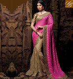 MARRIAGE SAREES COLLECTIONS FOR FASHION FOLLOWING WOMEN SIMPLE PINK CHIKOO GORGEOUS NET VISCOSE SARI WITH CHIKOO DELUXE ART SILK BLOUSE