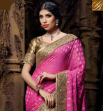 SIMPLE PINK CHIKOO GORGEOUS NET VISCOSE SARI WITH CHIKOO DELUXE ART SILK BLOUSE TIP TOP RESHAM EMBROIDERY DESIGNING WORK AND GOOD LOOKING LACE BORDER WORK IN SARI WITH STONE WORK AND EMBROIDERY BUTTA