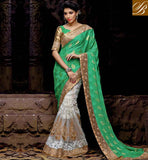 NEW WEDDING SAREES WEARING STYLES FOR WEDDING PARTY EYE CATCHING GREEN AND OFF WHITE NET VISCOSE SARI WITH GREEN AND CHIKOO LOVELY ART SILK BLOUSE IN NEW COLLECTION