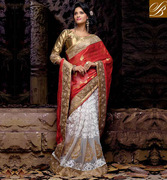 STYLISH SAREE DESIGN FOR WEDDING AT CHEAPEST PRICE EXCELLENT MAROON AND OFF WHITE NET VISCOSE SARI WITH CHIKOO LOVELY ART SILK BLOUSE