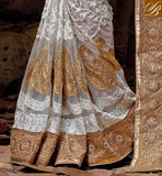 NEW TIP TOP RESHAM EMBROIDERY DESIGNING WORK WITH EMBROIDERY DESIGNING BUTTA, ALSO PARI WORK, STONE WORK AND LACE BORDER LATEST SAREE STYLES FOR WEDDING RECEPTION PARTY WEAR