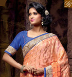 ORANGE AND CHIKOO LOVELY NET VISCOSE DESIGNING SAREE WITH BLUE FABULOUS DHUPION BLOUSE BEAUTIFUL RESHAM DESIGNING EMBROIDERY WORK, IMPRESSIVE EMBROIDERY DESIGNING BUTTA WITH STONE WORK AND LACE BORDER