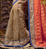 BEAUTIFUL RESHAM DESIGNING EMBROIDERY WORK, IMPRESSIVE EMBROIDERY DESIGNING BUTTA WITH STONE WORK AND LACE BORDER INDIAN SARI WEDDING WEAR WITH BEAUTIFUL BLOUSE DESIGNS ONLINE