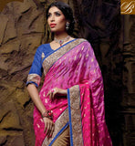 SIMPLE PINK AND CHIKOO NET VISCOSE IMPRESSIVE SAREE WITH BLUE DESIGNING DHUPION BLOUSE GORGEOUS EMBROIDERY DESIGNING WORK WITH NEW COLLECTION, ALSO STONE WORK AND DESIGNING LACE BORDER