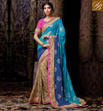 SOUTH INDIAN WEDDING SAREES WITH BLOUSE DESIGN LATEST POPULAR BLUE AND CHIKOO NET VISCOSE DESIGNING SARI WITH PINK DELUXE DHUPION BLOUSE