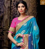 POPULAR BLUE AND CHIKOO NET VISCOSE DESIGNING SARI WITH PINK DELUXE DHUPION BLOUSE  AWESOME STONE WORK IN DESIGNING SAREE, RESHAM EMBROIDERY DESIGNING WORK ONLY FOR SAREE WITH PARI WORK AND LACE BORDER