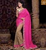 WEDDING RECEPTION SAREES BLOUSE DESIGNS LATEST FASHION TREND SMASHING PINK AND CREAM NET VISCOSE DESIGNING SAREE WITH CREAM IMPRESSIVE ART SILK BLOUSE