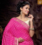 SMASHING PINK AND CREAM NET VISCOSE DESIGNING SAREE WITH CREAM IMPRESSIVE ART SILK BLOUSE FANTASTIC PARI WORK IN DESIGNING SARI, RESHAM EMBROIDERY WORK WITH STONE WORK AND GORGEOUS LACE BORDER IN SAREE