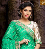 COOL GREEN AND CHIKOO NET VISCOSE EMBROIDERY WORK SARI WITH WHITE DELUXE ART SILK BLOUSE WONDERFUL ZARI WORK IN DESIGNING SAREE, EMBROIDERY DESIGNING BUTTA WITH PARI WORK, ALSO STONE WORK IN SARI AND LACE BORDER