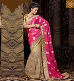 WEDDING SAREE COLLECTION WITH TRADITIONAL BLOUSE DESIGNS SIMPLE PINK AND CHIKOO NET VISCOSE ART DESIGNING SARI WITH CHIKOO DESIGNING ART SILK BLOUSE