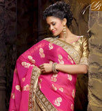 SIMPLE PINK AND CHIKOO NET VISCOSE ART DESIGNING SARI WITH CHIKOO DESIGNING ART SILK BLOUSE TIP TOP NEW COLLECTION EMBROIDERY DESIGNING WORK IN SAREE, ALSO STONE WORK WITH PARI WORK AND LACE BORDER IN SAREE