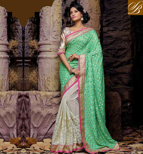 WEDDING SAREE COLLECTIONS WITH NEW BLOUSE BACK NECK DESIGNS EYE CATCHING GREEN AND CREAM NET VISCOSE SARI WITH CREAM GORGEOUS ART SILK BLOUSE