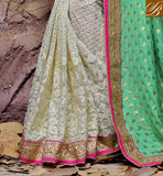 BRILLIANT EMBROIDERY DESIGNING WORK IN SARI, PARI WORK WITH STONE WORK AND DESIGNING LACE BORDER WEDDING SAREE COLLECTIONS WITH NEW BLOUSE BACK NECK DESIGNS