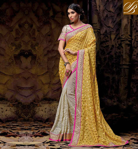 WEDDING SAREE DESIGN WITH INDIAN DESIGNER BLOUSES SUPER YELLOW AND CREAM NET VISCOSE OCCASIONAL SARI WITH CREAM NEW POPULAR ART SILK BLOUSE