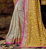 LUXURIOUS EMBROIDERY WORK, RESHAM EMBROIDERY DESIGNER WORK WITH PARI WORK AND STONE WORK ALSO DESIGNER LACE BORDER WEDDING SAREE DESIGN WITH INDIAN DESIGNER BLOUSES