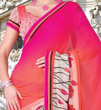 PEACH COLOR CASUAL WEAR SAREE RTKOR205A