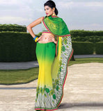 GREEN & YELLOW CASUAL WEAR SAREE