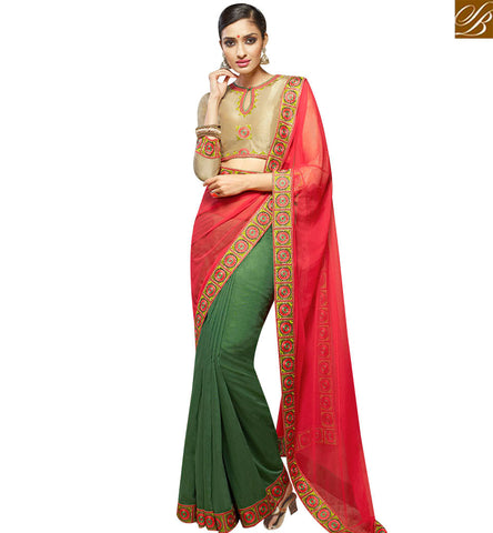 STYLISH BAZAAR INVITING GREEN AND RED HALF N HALF DESIGNER SAREE HAVING FULL SLEEVES BLOUSE SLHAW205