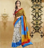 STYLISH BLOUSE PATTERNS WITH HALF SAREE COLLECTIONS AT LOW RATE SIMPLE WHITE BHAGALPURI SILK CASUAL WEAR SAREE WITH BLUE AND RED BHAGALPURI BLOUSE
