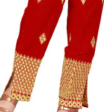 narrow cotton pant with embroidery for females