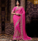 WEDDING SAREE DESIGNS NICE COMBINATION OF NEW BLOUSE PATTERN NEW PINK NET VISCOSE OCCASIONAL SARI WITH PINK GORGEOUS ART SILK BLOUSE