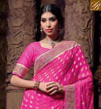NEW PINK NET VISCOSE OCCASIONAL SARI WITH PINK GORGEOUS ART SILK BLOUSE MAJESTIC RESHAM EMBROIDERY WORK, EMBROIDERY BUTTA WITH PARI DESIGNER WORK, STONE WORK AND DESIGNER LACE BORDER