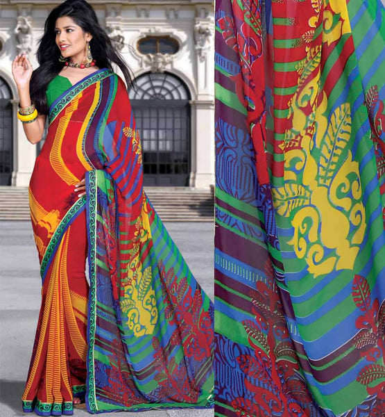 EXCITING PRINTED CASUAL WEAR SAREE RTKOR206B