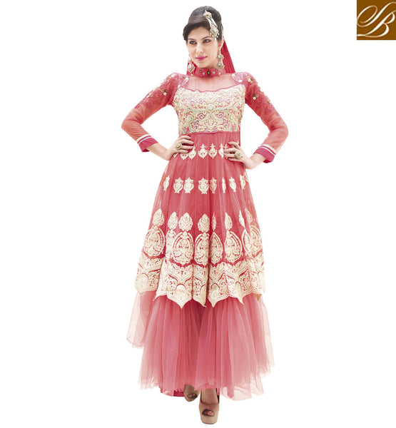 EYE-CATCHING PINK NET ANARKALI DRESS RTALK206
