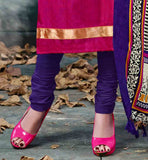 EXCITING STRAIGHT CUT DRESS WITH SUPERB YELLOW AND PURPLE PRINTED BHAGALPURI DUPATTA