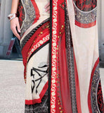 MAROON & CREAM CASUAL WEAR SAREE RTKOR207B