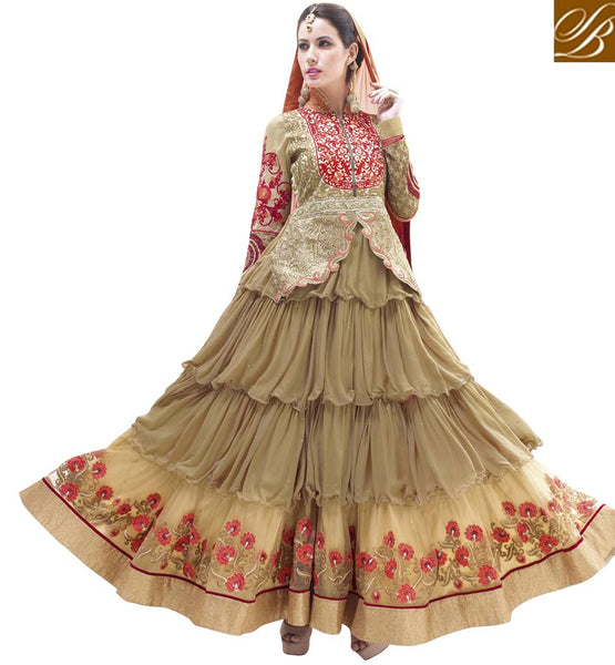 ONE LOOK CHIKOO COLOR FAUX GEORGETTE ANARKALI DRESS RTALK207