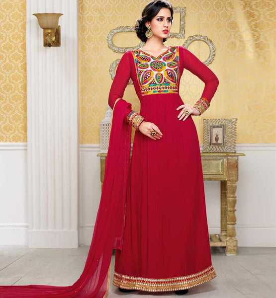 207 bela fashions surat FLOOR LENGTH GOWN STYLE ANARKALI DRESS TRADITIONAL EMBROIDERY ON NECK