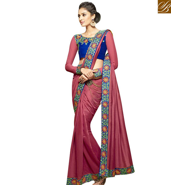 STYLISH BAZAAR DAZZLING WINE GEORGETTE DESIGNER SAREE WITH ROYAL BLUE EMBROIDERED BLOUSE SLHAW207
