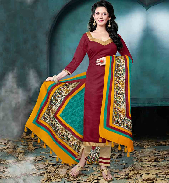 LATEST CASUAL WEAR SALWAR KAMEEZ FASHION 2015 BHAGALPURI FABRIC BROWN KAMEEZ WITH BEIGE COTTON SALWAR