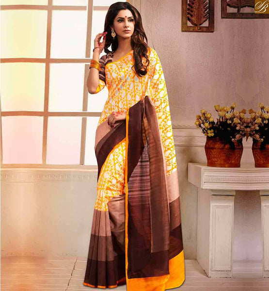 DESIGNER BLOUSE PATTERNS WITH CUTE HALF SAREES AT CHEAP PRICE YELLOW BHAGALPURI SILK CASUAL WEAR SAREE WITH COFFEE BHAGALPURI SILK DESIGNER BLOUSE