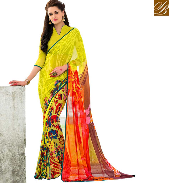 FROM STYLISH BAZAAR ADORABLE FLORAL PRINTED SAREE DESIGN RTSHN2082